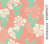 seamless tropical pattern with... | Shutterstock .eps vector #695893477