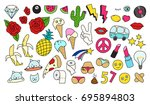 fashion patch badges set.... | Shutterstock .eps vector #695894803