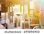 bus empty seats interior with... | Shutterstock . vector #695896903
