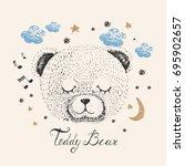 sleeping bear hand drawn vector ... | Shutterstock .eps vector #695902657