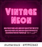 bright neon alphabet letters ... | Shutterstock .eps vector #695902663