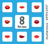 flat icon mouth set of pomade ... | Shutterstock .eps vector #695911957