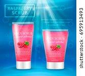 realistic packaging body scrub... | Shutterstock .eps vector #695913493