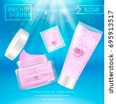 realistic packaging body scrub... | Shutterstock .eps vector #695913517