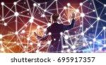 back view of businesswoman... | Shutterstock . vector #695917357
