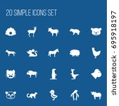 set of 20 editable animal icons....