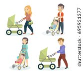 parents with strollers. mothers ... | Shutterstock .eps vector #695921377