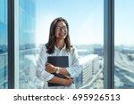 happy business investor... | Shutterstock . vector #695926513