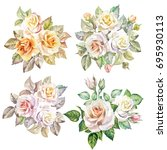 watercolor bouquets of roses.set | Shutterstock . vector #695930113