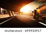 truck on the road with  motion... | Shutterstock . vector #695933917