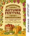 vintage autumn festival poster. ... | Shutterstock .eps vector #695937187