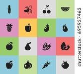 set of 16 editable fruits icons....