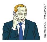 vladimir putin on phone. vector ... | Shutterstock .eps vector #695939707