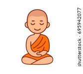 Buddhist Monk In Orange Robes...