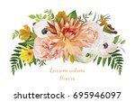 flower airy loose wreath... | Shutterstock .eps vector #695946097