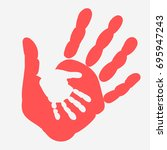 mother and child handprint.... | Shutterstock .eps vector #695947243