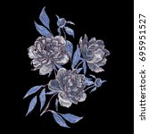 vector embroidery with peony.... | Shutterstock .eps vector #695951527