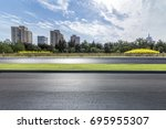 empty road with modern business ... | Shutterstock . vector #695955307