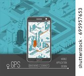 mobile gps and tracking concept.... | Shutterstock .eps vector #695957653