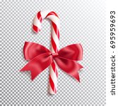 realistic christmas candy cane... | Shutterstock .eps vector #695959693