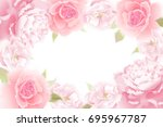 Stock vector roses and peonies vector card garden flower hand drawing pastel realistic floral illustration 695967787