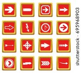 arrow icons set in red color...   Shutterstock .eps vector #695968903