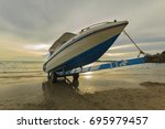 speed boat park on the boat... | Shutterstock . vector #695979457