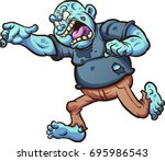fat cartoon zombie running and... | Shutterstock .eps vector #695986543