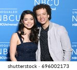 Small photo of NEW YORK - MAY 15, 2017: Auli'i Cravalho and Damon J. Gillespie attend the 2017 NBCUniversal Upfront on May 15, 2017, in New York.