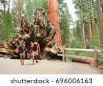 family on hiking trip exploring ... | Shutterstock . vector #696006163