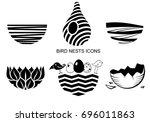 set icons bird's nest for a...   Shutterstock .eps vector #696011863
