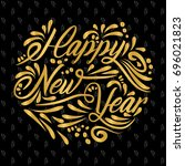 happy new year banner with gold ... | Shutterstock .eps vector #696021823