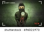 caught burglar by house camera... | Shutterstock . vector #696021973
