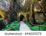rock city in adrspach  czech... | Shutterstock . vector #696025273