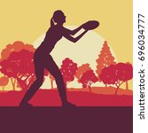 flying disc throw game woman... | Shutterstock .eps vector #696034777