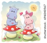 Two Cute Cartoon Hippos Are...