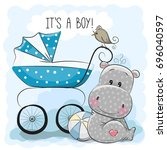 greeting card its a boy with... | Shutterstock . vector #696040597