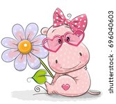 Greeting Card Hippo With Flowe...