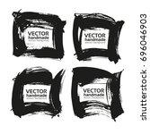 four square frames from black... | Shutterstock .eps vector #696046903