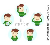 flu and common cold infographic ... | Shutterstock .eps vector #696047173