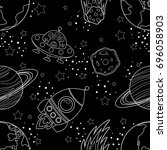 childish seamless space pattern ... | Shutterstock .eps vector #696058903