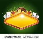 golden vector casino vegas sign | Shutterstock .eps vector #696068653