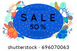 sale banner with discount offer.... | Shutterstock .eps vector #696070063