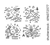 icon set   illustrations in a... | Shutterstock .eps vector #696072577