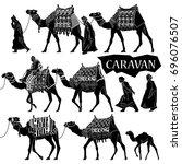 Camels Caravan Illustration Set