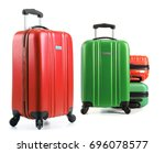 travel suitcases isolated on... | Shutterstock . vector #696078577