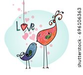 hand drawn lover birds  cute ... | Shutterstock .eps vector #696106363