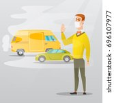 man standing on the background... | Shutterstock .eps vector #696107977