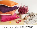 colorful cushions throw cozy... | Shutterstock . vector #696107983