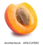 half of  apricot isolated on a... | Shutterstock . vector #696114583